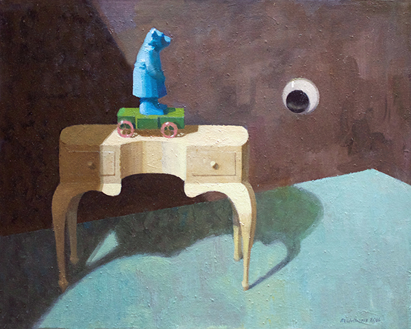 Landscape with dressing table II, 2017<br>oil on canvas, 40 x 50 cm
