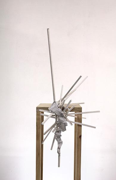 Tom Borgas, The Cloud (Indigo), 2019<br/>oak, stainless steel screws, acrylic paint, inkjet printed polyproylene, 67 x 60 x 109 cm