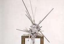Tom Borgas, The Cloud (Havfrue), 2019<br/>oak, stainless steel screws, acrylic paint, inkjet printed polyproylene, 92 x 45 x 125 cm