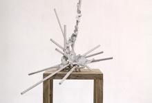 Tom Borgas, The Cloud (Tannat), 2019<br>oak, stainless steel screws, acrylic paint, inkjet printed polyproylene, 54 x 50 x 74 cm