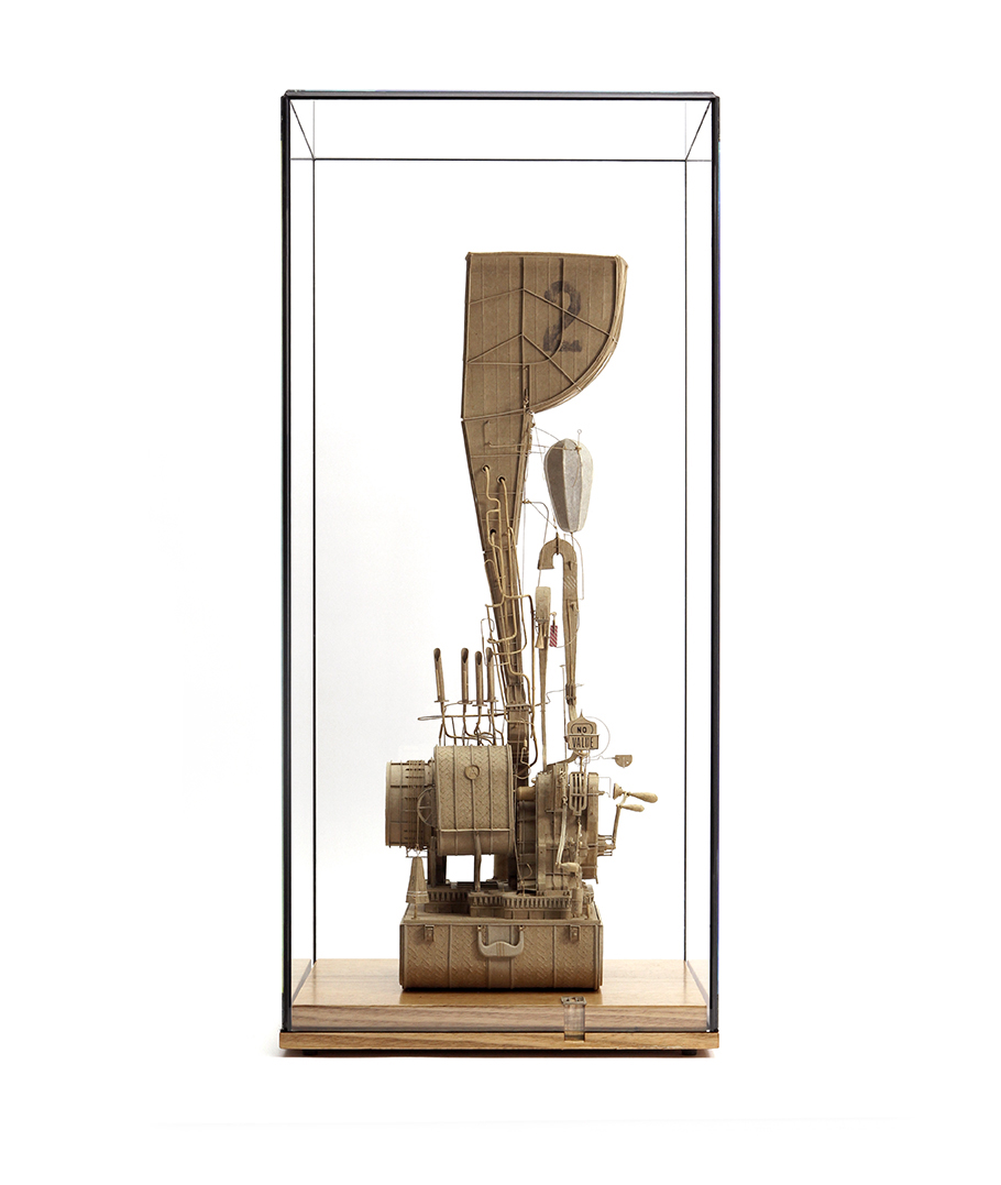 Daniel Agdag, Machine / Instrument No. 2 2018<br> Cardboard, paper, brass, nickel, 11 jewel Hermle carriage movement. Mounted on wooden base (Victorian Ash) under low iron glass<br>65cm x 30.5cm x 30.5cm (including glass vitrine)