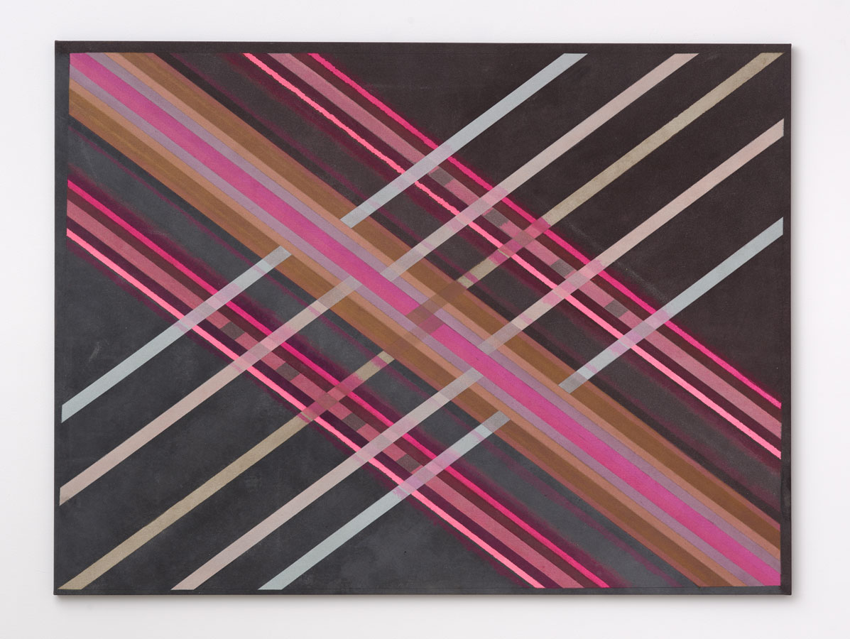 'Zap [Pink/Hums/Purple/Intrusion]', 2015<br> Pencil, acrylic paint transparent gesso, glitters, holographic glitter, metallic pigments<br>144 x 192 x 2cm