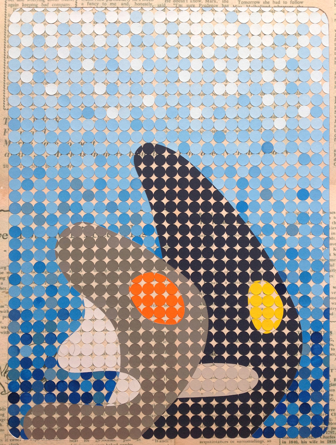 'Very soon said the girl and her eyes shone', 2016 <br> gouache on paper dots on archival paper<br>50 x 40 cm