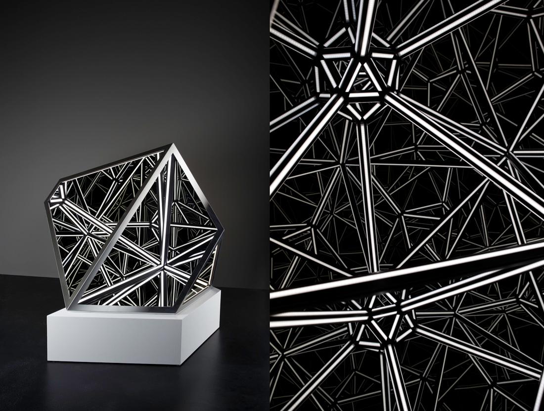 'Nexus', 2016<br>Steel, acrylic, mirror, plywood, MDF and LED lighting, 120 x 116 x 127 cm