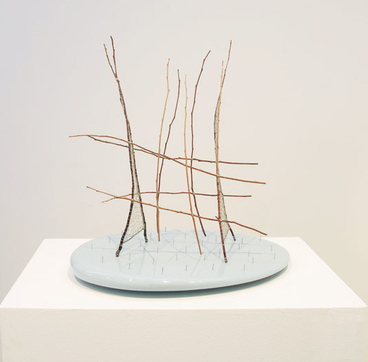 Greer Taylor, 'the other said', 2014, found sticks, knitted tinned copper wire, nails, pinted MDF, steel, 46 x 45 x 35 cm