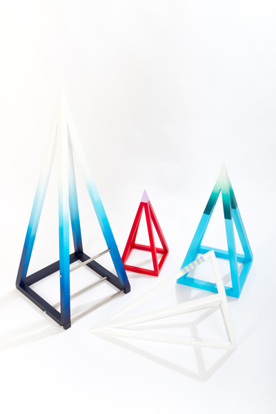 Zoe Kirkwood, untitled (pyramid set), four pieces, 2015, MDF, stainless steel, installation dimensions variable