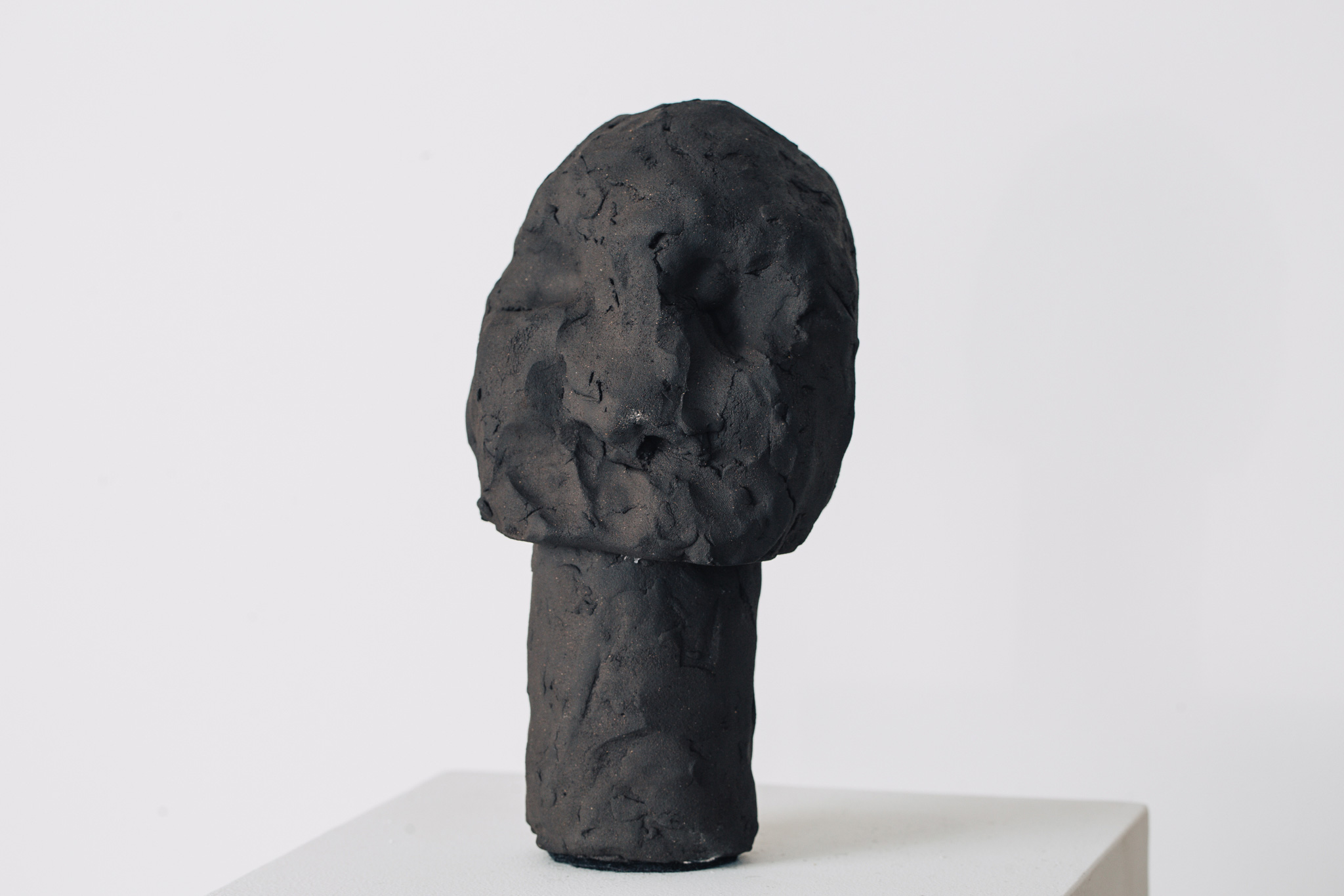 'Golem II', 2016<br>English black earthstone clay, 20 x 7 cm