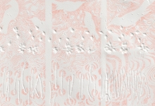 'Line Transect Red (Bellbird Waterhole)' Diptych, plant blind embossing, graphite, ink & pigment on rag paper, 111 x 36 cm each panel, 2014 (detail)