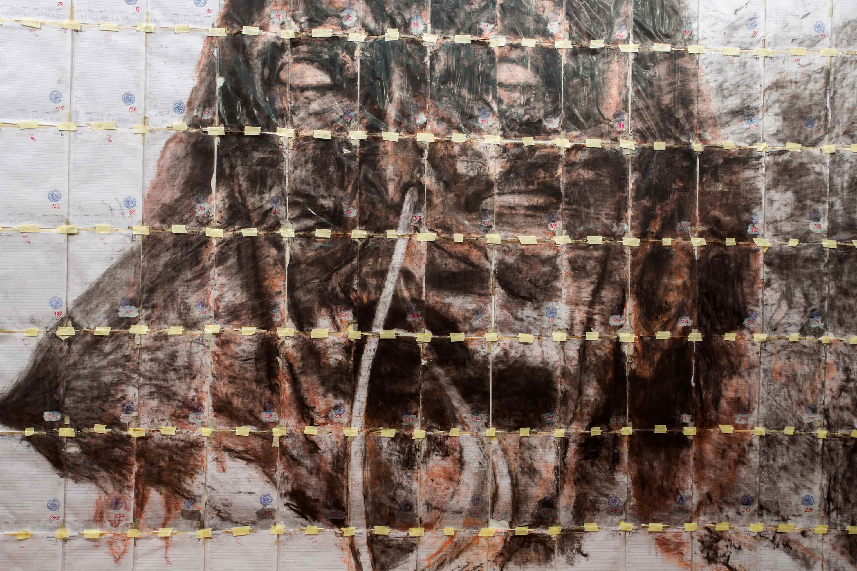Bernhard Sachs, 'The Paranoiac-Critical Ratio (one year or two seconds of ecstacy) Melbourne 3.39.02 am 2005 Dali Cadaver', 2016<br>Charcoal, ink, comte, rubber stamp, acrylic, texta on diary pages in plastic sheets, $POA <br><br>Courtesy of the artist and NKN Gallery