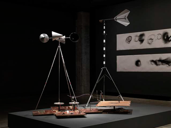 Portable Wind-Drawing Machine, 1990-2016 <br> Timber, stainless steel, steel, aluminium, stone, copper, acrylic, hinges, Spectra, shock cord, leather, PU cord, pens, pliers, clips, spanner, screwdriver, allen key, machine oil, Teflon, rubber, ventolin puffer, dimensions variable