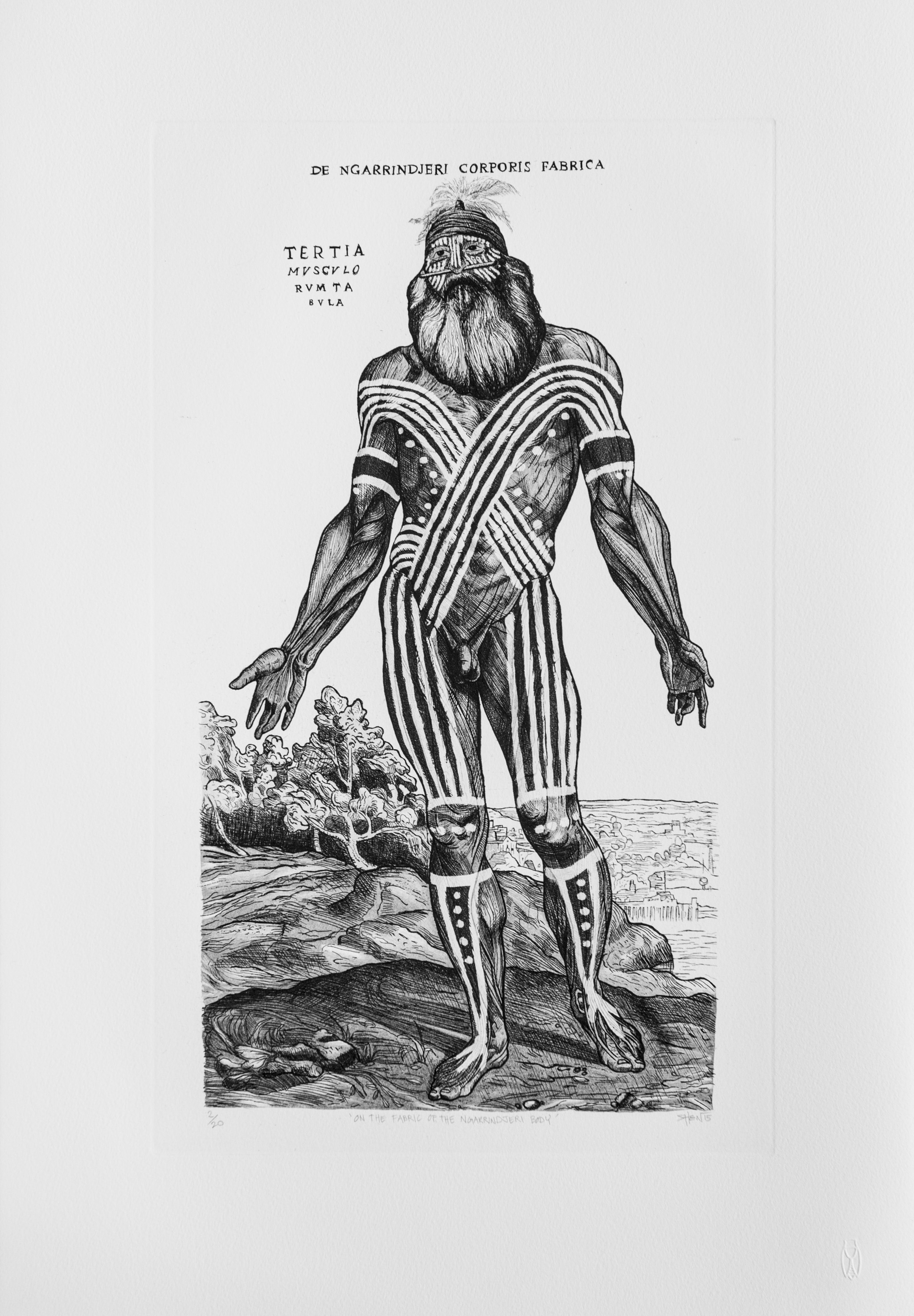 'On the fabric of the Ngarrindjeri Body', 2014 <br>Etching, 65 x 46 cm, Edition of 20