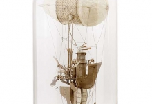 SOLD    'The Captain', 2014, cardboard, trace paper mounted on wooden base with hand-blown glass dome, 58.5 x 30.5 cm