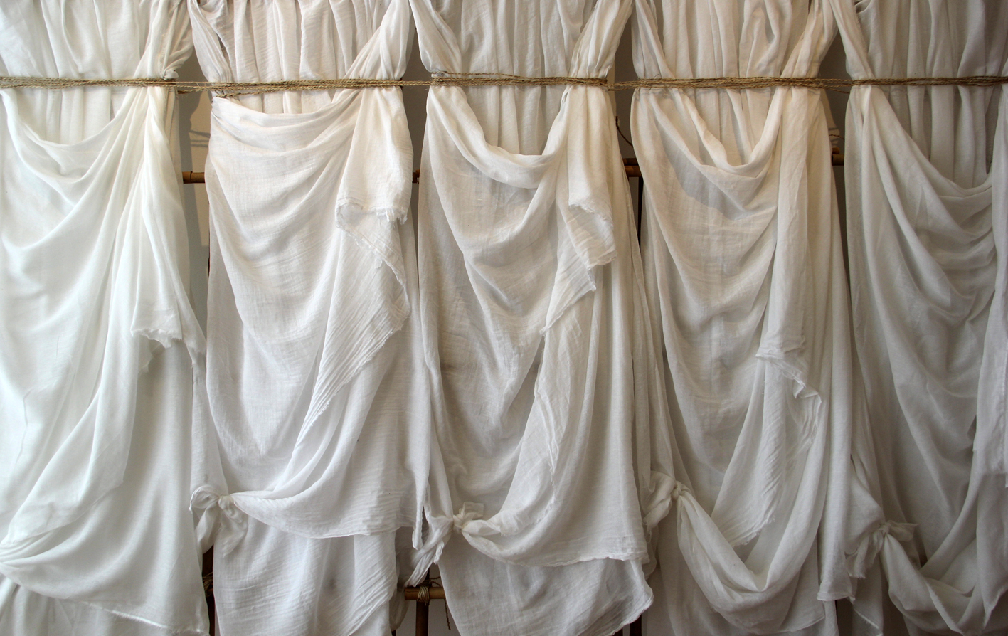 Elizabeth Wallace, 'Together Alone' (Detail), 2016 <br> muslin, bamboo, twine, 180 cm x 230 cm