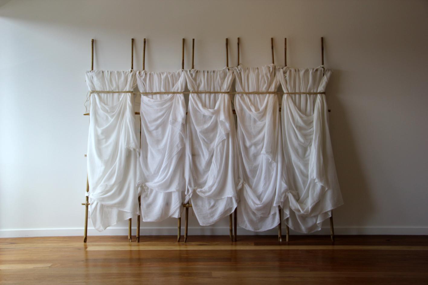 Elizabeth Wallace, 'Together Alone', 2016 <br> muslin, bamboo, twine, 180 cm x 230 cm