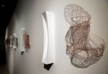 Greer Taylor, 'wired 1-9', 2013, knitted wire, tinned copper, bare copper and enameled copper, 45 x 45 x 18 cm (installation view)