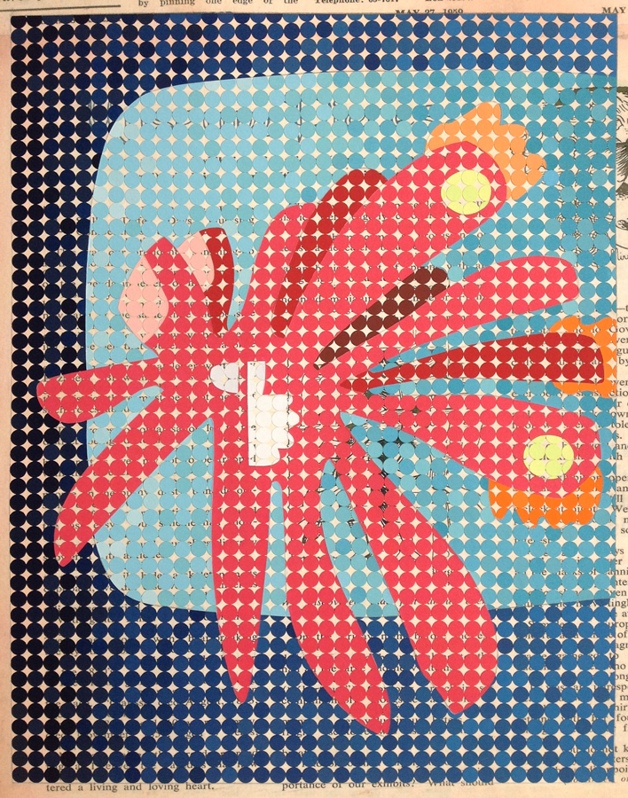 The high roller, 2016<br>Gouache on paper dots on archival paper<br>64 x 54 cm framed