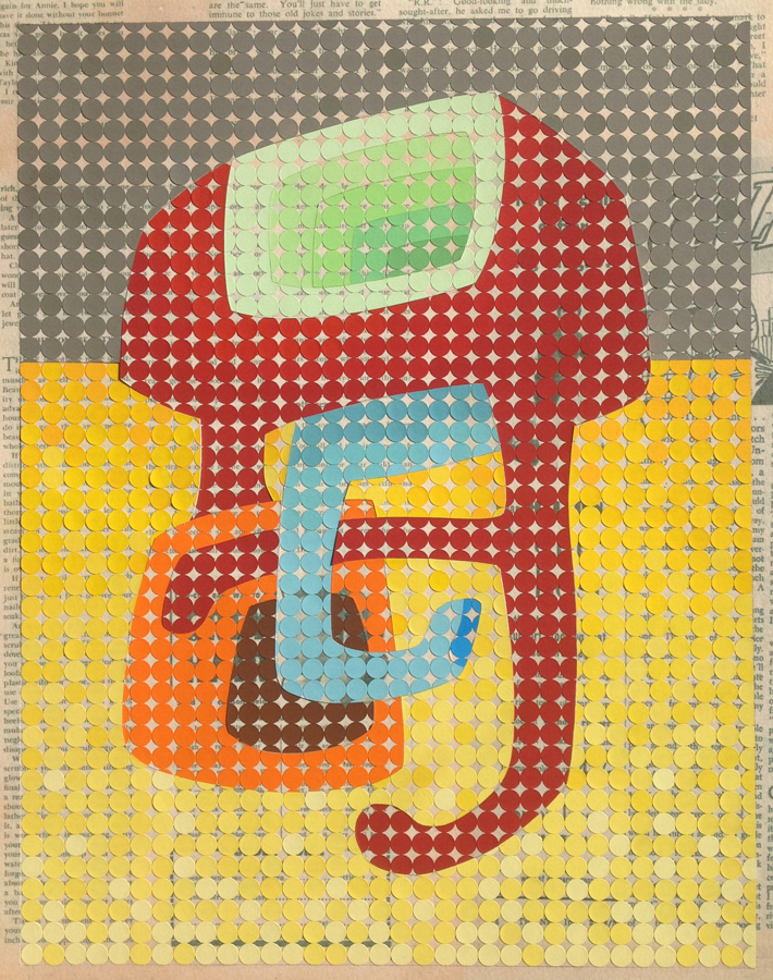 Tickle monster, 2016<br>Gouache on paper dots on archival paper<br>58 x 48 cm framed