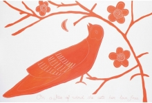 janno-red-bird-2011-acrylic-and-cotton-thread-on-canvas-122-x-183cm