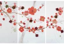 janno-spring-blossom-2011-acrylic-silk-thread-cotton-thread-on-3-canvas-panels-120-x-100-each