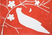 janno-white-bird-2011-acrylic-and-cotton-thread-on-canvas-122-x-183cm