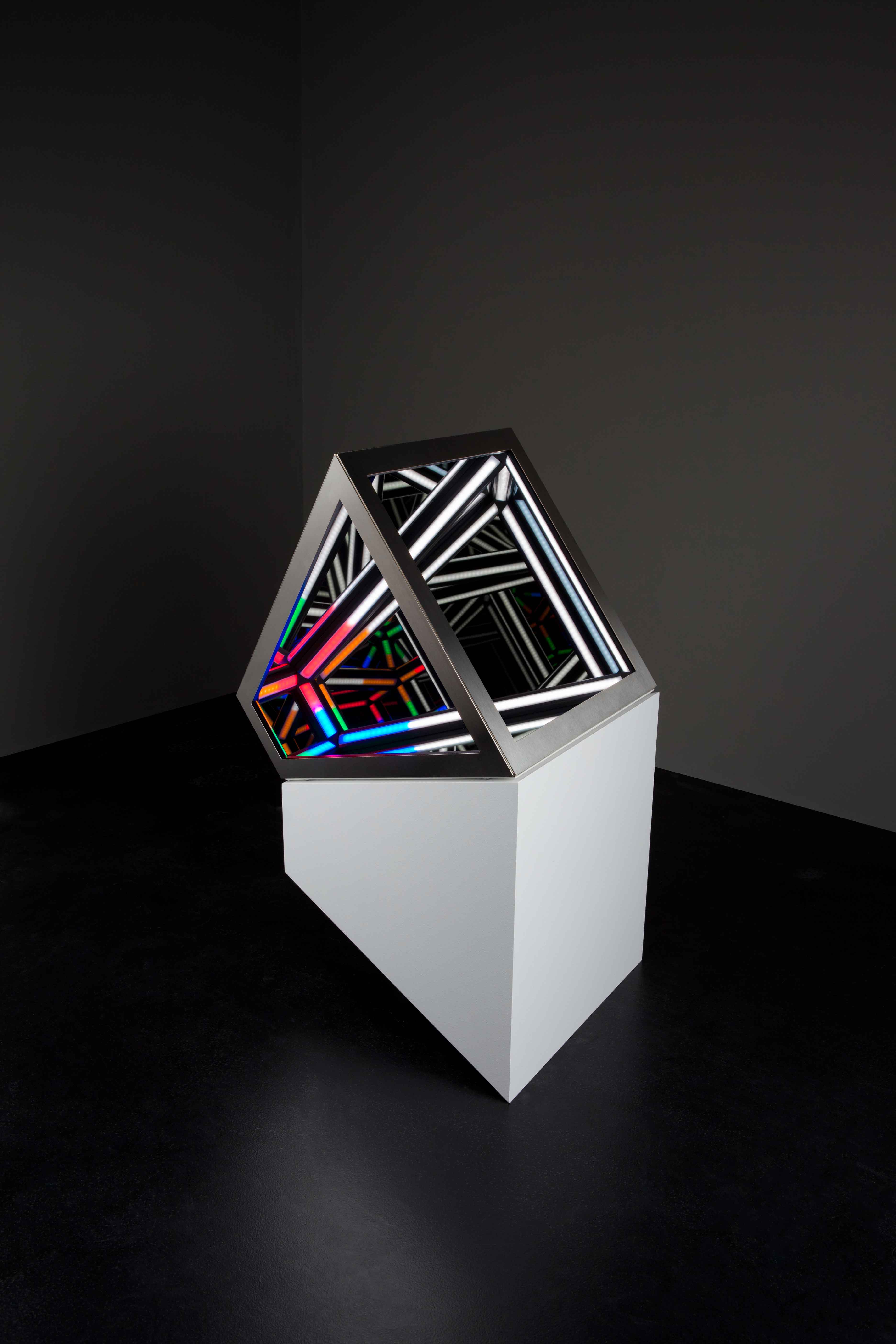 Dual III, 2016 <br>wood, reflective glass, mirror, stainless steel, MDF and LED lighting, 74 x 40.5 x 52 cm