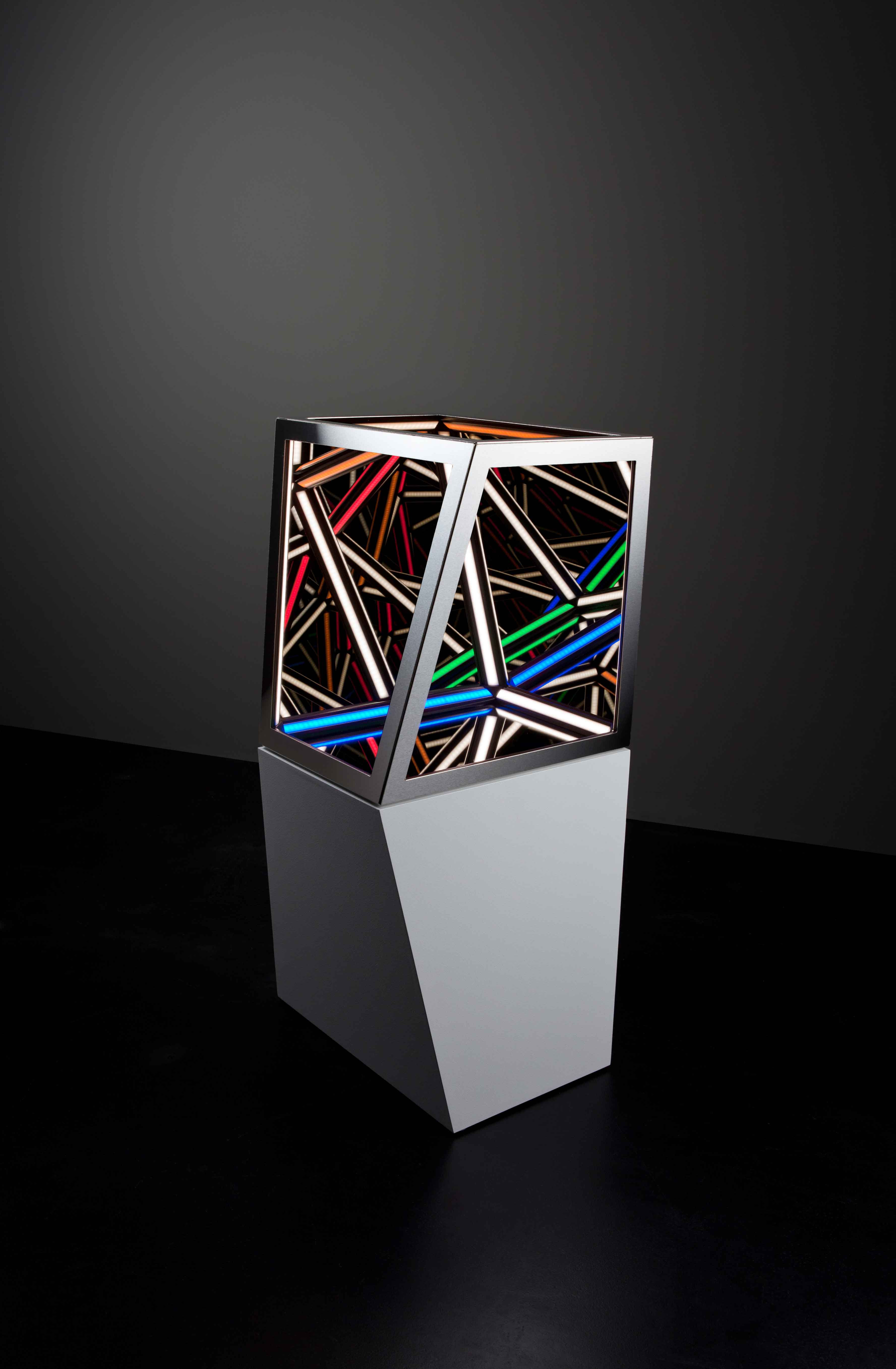 Dual IV, 2016<br>wood, reflective glass, mirror, stainless steel, MDF and LED lighting, 93 x 45 x 45 cm