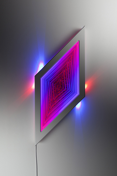 Disjoint, 2013 <br> wood, reflective glass, mirror, MDF and LED lights, 106 x 44 x 12.5 cm