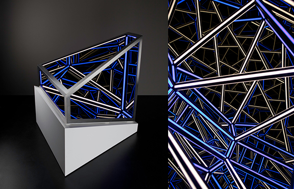 Diametric, 2015 <br> Wood, reflective glass, mirror, stainless steel, MDF and LED lights, 91.5 x 88.5 x 84 cm (including plinth)