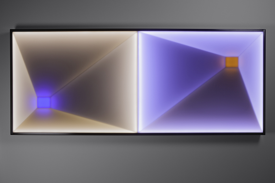 Tunnel Vision III, 2017<br>steel, acrylic, plywood, MDF, LED lighting and electronics, 86 x 208 x 9 cm, edition of 1