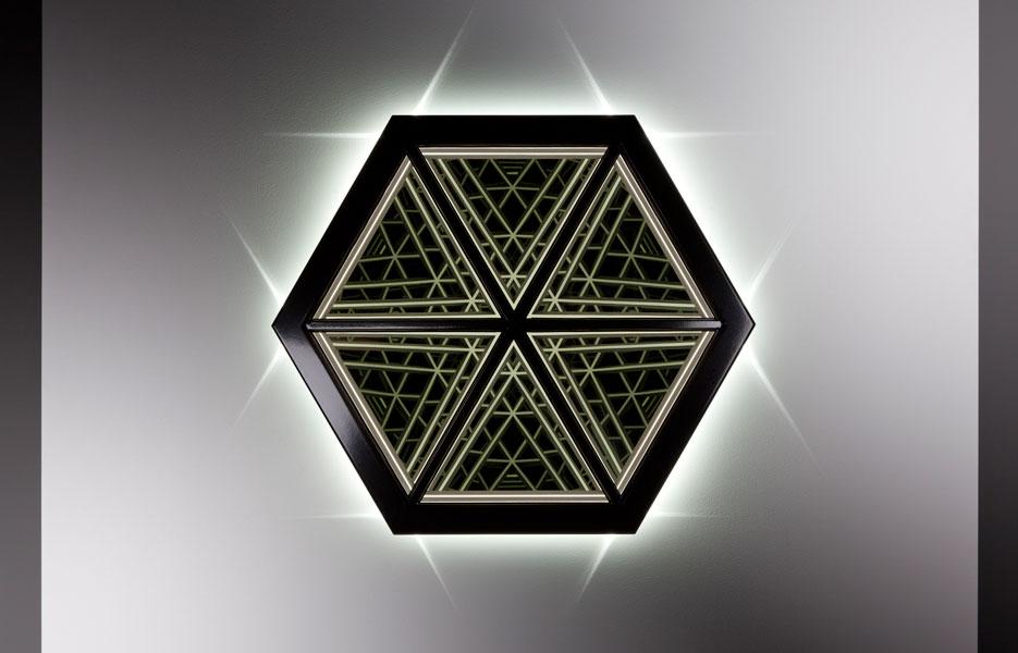 'Exhale', 2014, Wood, reflective glass, mirror, MDF & LED lights, 86 x 76 x 17cm