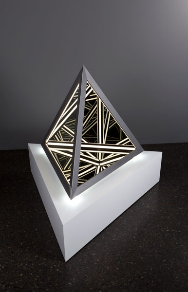 'Blank', 2014, Wood, reflective glass, mirror, MDF & LED lights, 102 x 91 x 89 cm