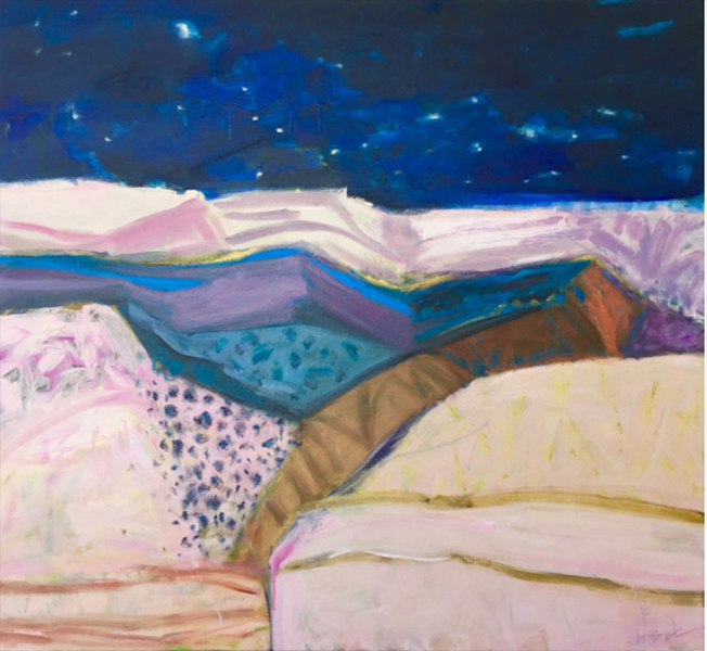 Hinterland - the blue side of the dune, 2017<br>oil on canvas, 112 x 122 cm