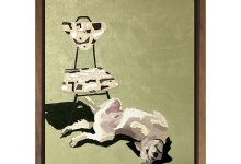 Eliza Goose, Hugo and His Cream Chair, 2019<br>oil on board, 25 x 20 cm