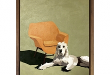 Eliza Goose, Hugo and His Orange Chair, 2019<br/>oil on board, 25 x 20 cm