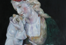 Chelsea Lehmann, Dolly, 2019<br> oil on linen, 30 x 26 cm