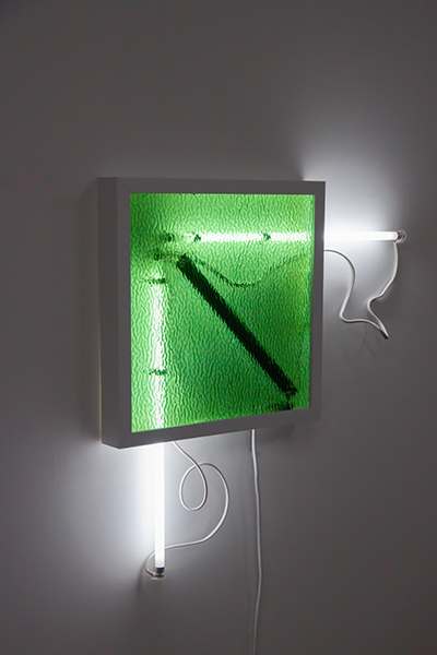 Meagan Streader, Reroute, 2019<br/>Ripple Glass, white moulding, Fluorescent lights and electronic components, 70 x 70 x 7 cm (approx)