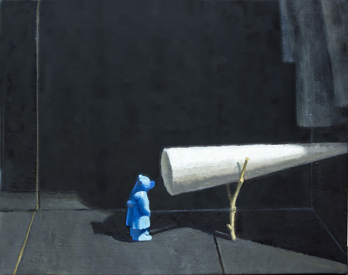 Blue bear looks out, 2016,<br>Oil on canvas, 40.5 x 51cm