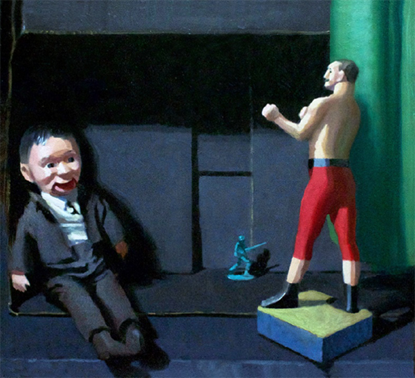 The world of men, 2016<br> oil on canvas, 55 x 60 cm