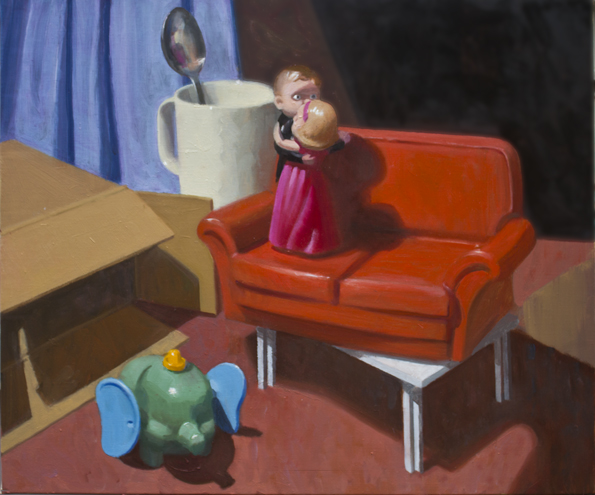 07. The dance V (with red couch) 2014 Oil on canvas 55.5 x 65.5cm