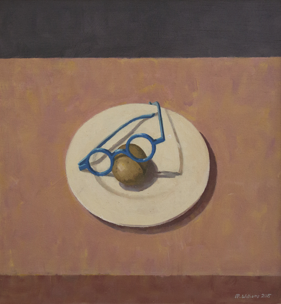 13. Still life with potato and glasses', 2015, Oil on board, 44.5 x 48.5cm
