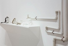 'Centre of my Sinful Earth (large wall installation)', 2013, porcelain lingerie, x-ray box, perspex case, 25 x 80 x 40 cm