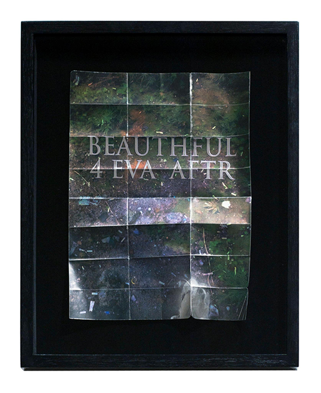 'BEAUTHFUL 4 EVA AFTER', 2015 <br>Digital print on found emergency blanket, velour, lacquered Australian Oak box frame, UV resistant Perspex, 51.5 x 43 cm, Edition of 5
