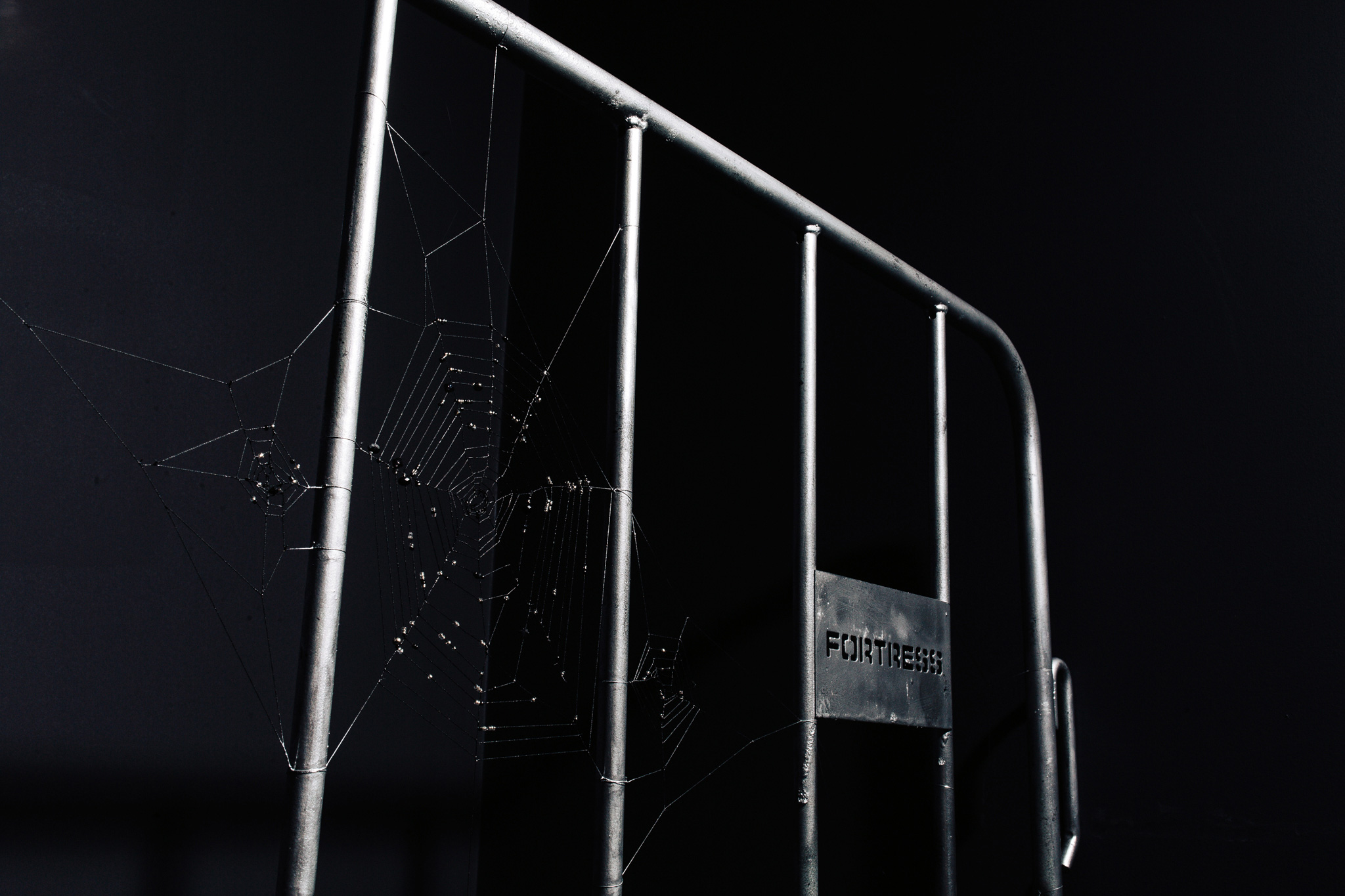 FORTRESS™ <br>Stolen fencing barricade, upholstery thread, anxiety, glass & crystal beading, various paints, 1.2m x 2.2m