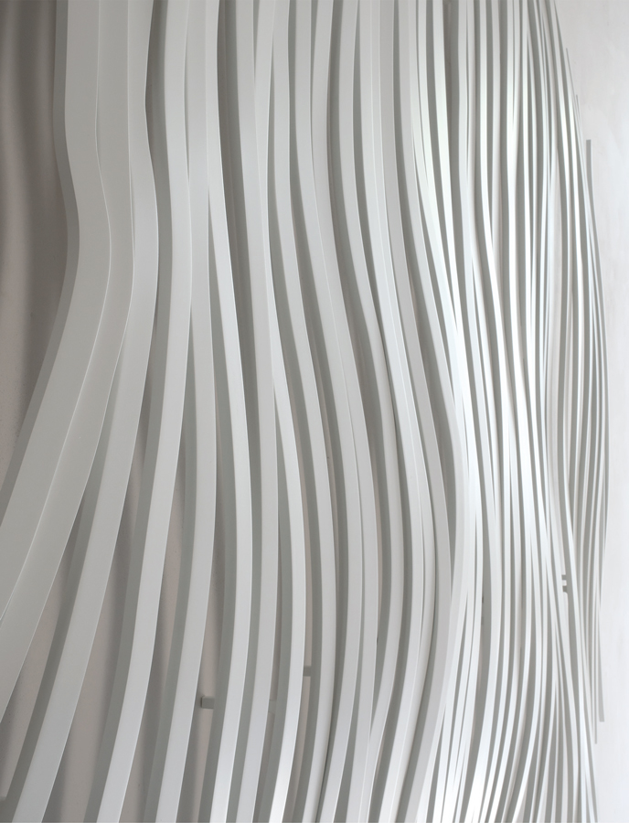 8. 'Vibrations III', painted stainless steel, 180 x 170 x 20 cm, 2015 (detail)