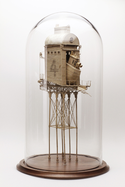 Daniel Agdag, 'The Exodus' 2013, Cardboard, trace paper, mounted on wooden base with hand-blown glass dome, 58.5 x 30.5 cm