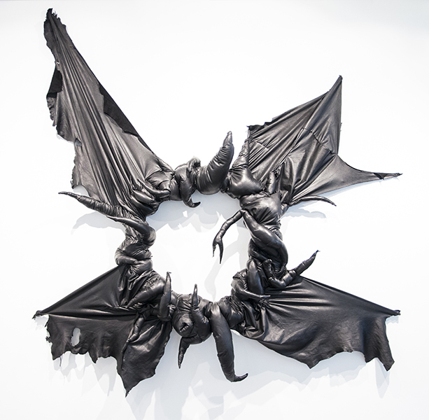 Survival wreath of open arsehole, 2017<br/>Leather, thread, polyester fibre and wire, 180 x 180 x 30 cm, photographed by Isabel Rouch