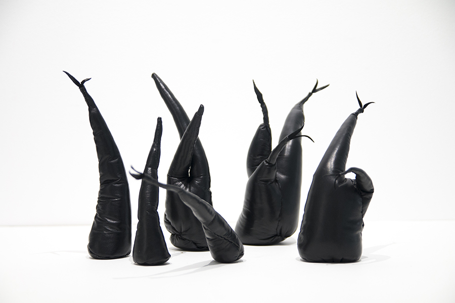 Shoots, 2018<br/>leather, thread, polyester fibre and sillica gravel, 25 cm high