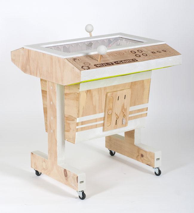 Hey Nerd (video game)<br> Balsa wood, timber, acrylic, glass beads & paint<br> 81.5 x 72.5 x 70 cm