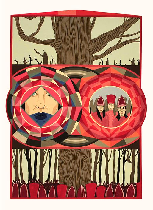 Pugachov's Oak, 2016 <br>gouache on paper, 56 x 76 cm