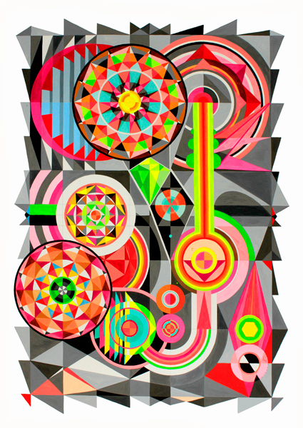 Sound skips and stutters, 2014<br> Gouache on paper<br> 60 x 80cm